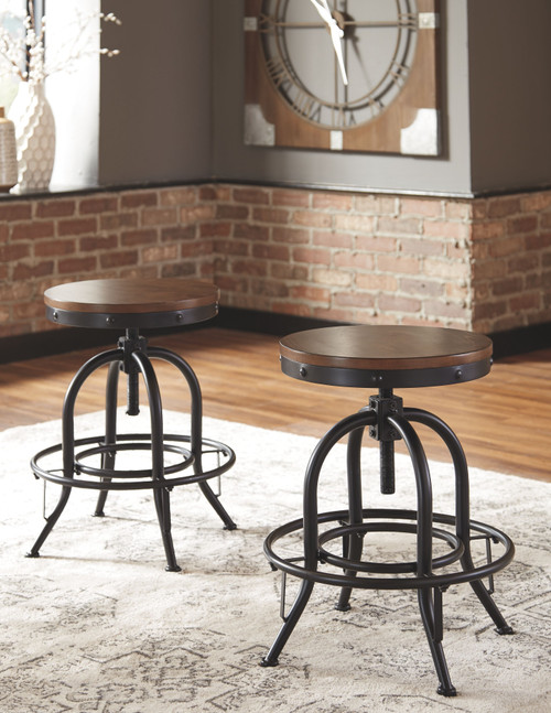 Valebeck Brown/Black Swivel Barstool (Set of 2)