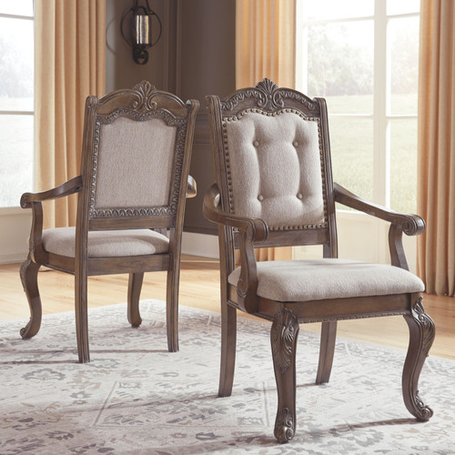 Charmond Brown Dining Upholstered Arm Chair (Set of 2)
