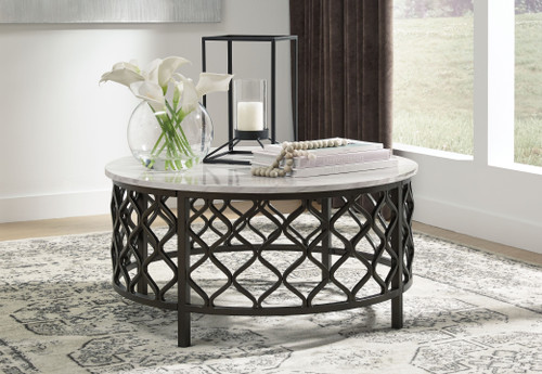 Trinson Gray/Black Round Cocktail Table