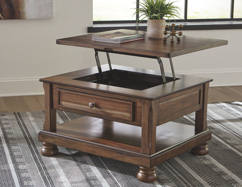 Flynnter Medium Brown Rect Lift Top Cocktail Table