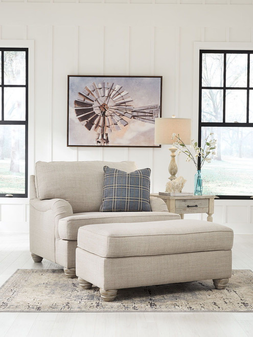 Traemore Linen Chair and a Half with Ottoman
