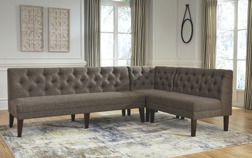 Tripton Graphite 3 Pc. Upholstered Bench