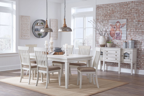 Danbeck Dining Room 7 Pc. Set: Rectangular Table with Leaf and 6 Upholstered Side Chairs