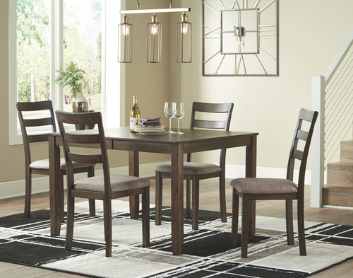Drewing Brown 5 Pc. Rectangular Extension Table & 4 Upholstered Side Chairs