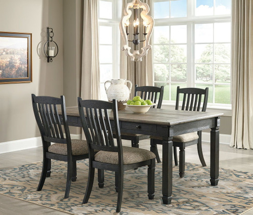 Tyler Creek Black/Gray 5 Pc. Rectangular Table & 4 Upholstered Side Chairs