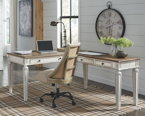 Realyn White/Brown Home Office L Shaped Desk & Swivel Desk Chair