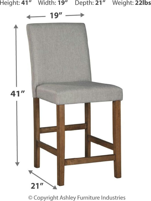 Glennox Gray/Brown Upholstered Barstool ( Set of 2)