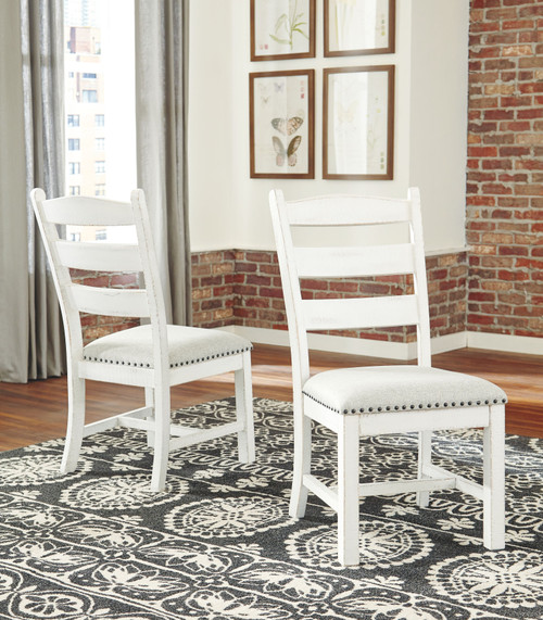 Valebeck Beige/White Dining Upholstered Side Chair (Set of 2)