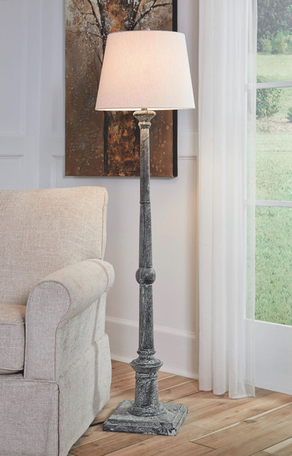 Zimba Antique Gray Wood Floor Lamp (1/CN)
