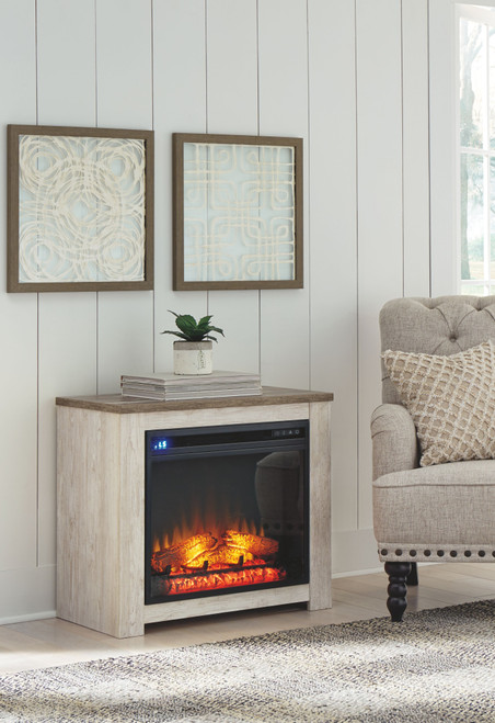 Willowton Whitewash Fireplace Mantel w/FRPL Insert