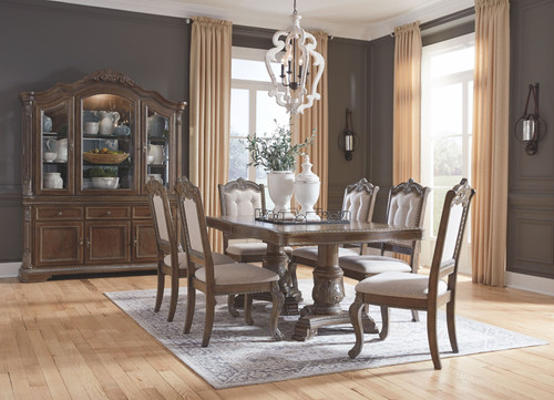 Charmond Brown 10 Pc. Rectangular Extension Table, 6 Upholstered Side Chairs, Buffet & China