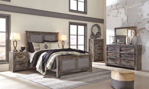 Lynnton Rustic Brown 6 Pc. Dresser, Mirror, Chest & Queen Upholstered Panel Bed