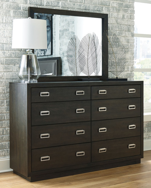 Hyndell Dark Brown Dresser & Mirror