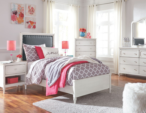 Faelene Chipped White 5 Pc. Dresser, Mirror & Twin Upholstered Panel Bed