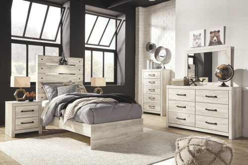 Cambeck Whitewash 7 Pc. Dresser, Mirror, Twin Panel Bed & 2 Nightstands