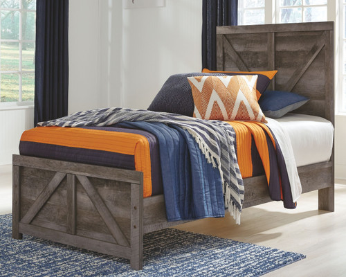 Wynnlow Gray Twin Crossbuck Panel Bed