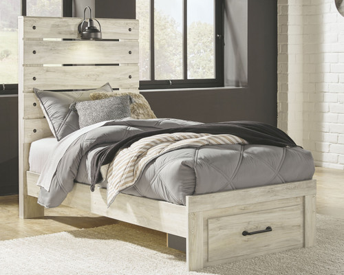Cambeck Whitewash Twin Panel Bed with Storage