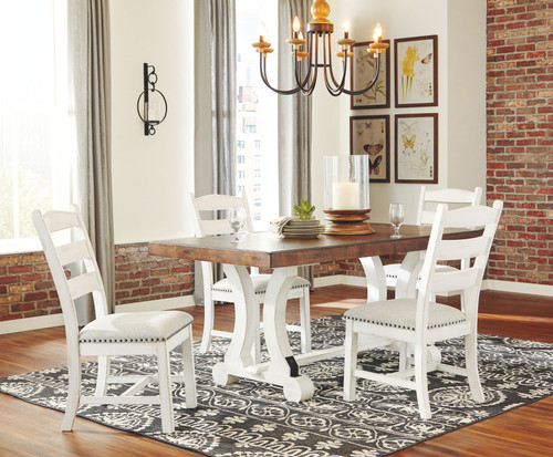 Valebeck White/Brown 5 Pc. Rectangular Table & 4 Upholstered Side Chairs