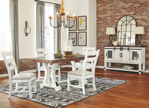 Valebeck White/Brown 6 Pc. Rectangular Table, 4 Upholstered Side Chairs & Server