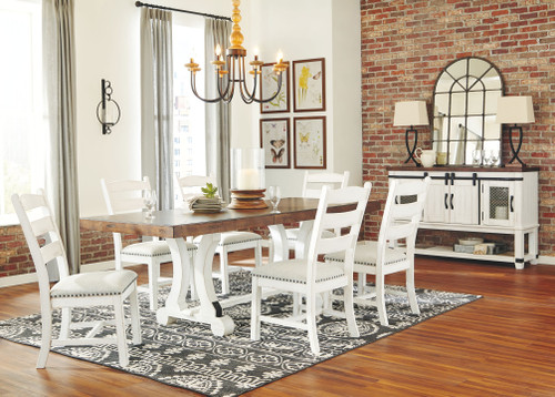 Valebeck White/Brown 8 Pc. Rectangular Table, 6 Upholstered Side Chairs & Server