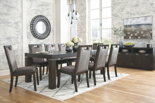 Hyndell Dark Brown 10 Pc. Rectangular Extension Table, 8 Upholstered Side Chairs & Server