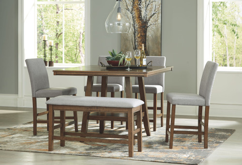 Glennox Warm Brown 6 Pc. Square Counter Table, 4 Upholstered Barstools & Bench