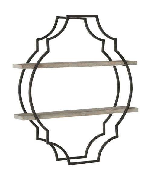 Candon Antique Gray/Black Wall Shelf