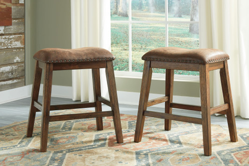 Chaleny Warm Brown Upholstered Stool (Set of 2)