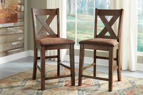 Chaleny Warm Brown Upholstered Barstool (Set of 2)
