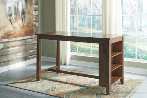 Chaleny Warm Brown Rectangular Dining Room Counter Table