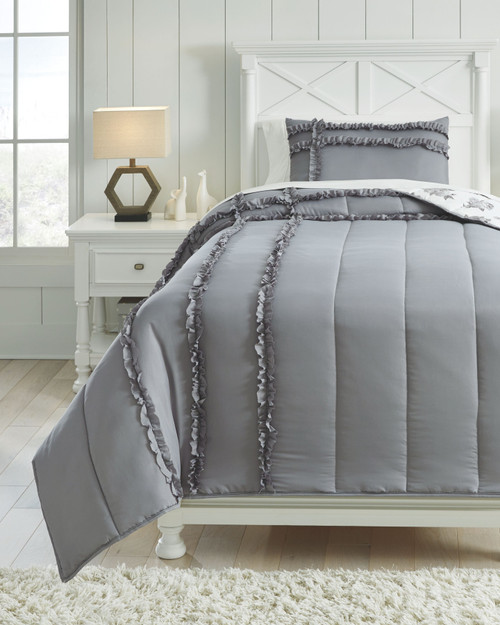 Meghdad Gray/White Twin Comforter Set