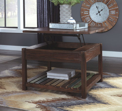 Mestler Rustic Brown Lift Top Cocktail Table