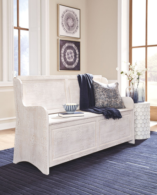 Dannerville Antique White Storage Bench