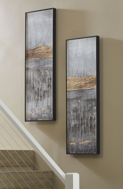 Aniyah Black/Gold/White Wall Art Set (2/CN)