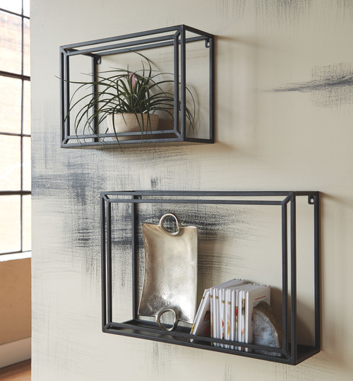 Ehren Black Wall Shelf Set (2/CN)