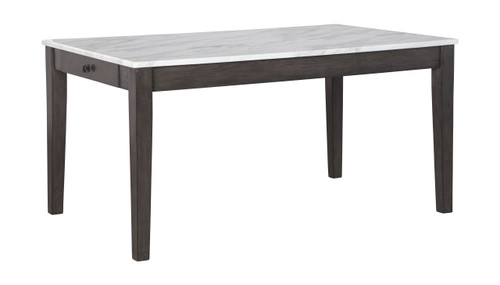 Luvoni White/Dark Charcoal Gray Rectangular Dining Room Table