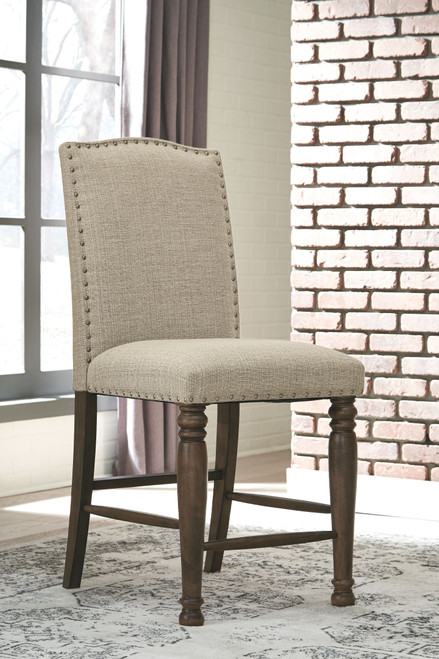Lettner Gray/Brown Upholstered Barstool (Set of 2)