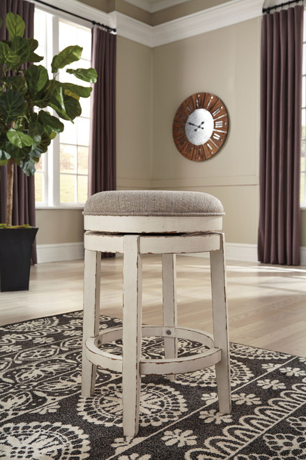 Realyn Chipped White Upholstered Swivel Stool (1/CN)