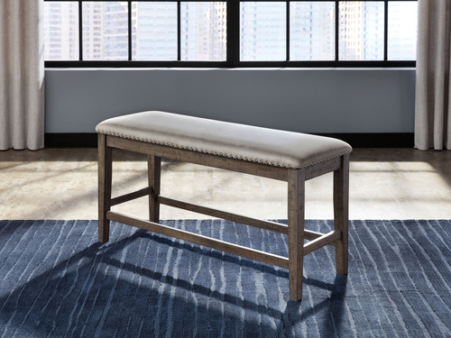 Johurst Beige/Brown Double Upholstered Bench (1/CN)