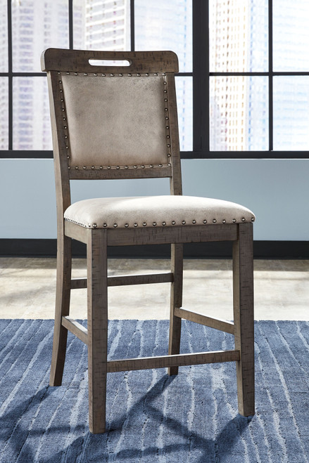 Johurst Beige/Brown Upholstered Barstool (Set of 2)