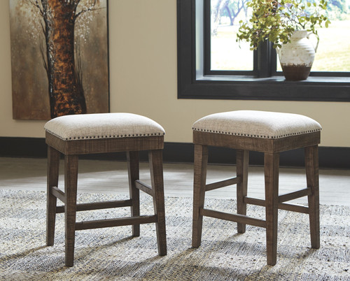 Wyndahl Rustic Brown Upholstered Stool (Set of 2)