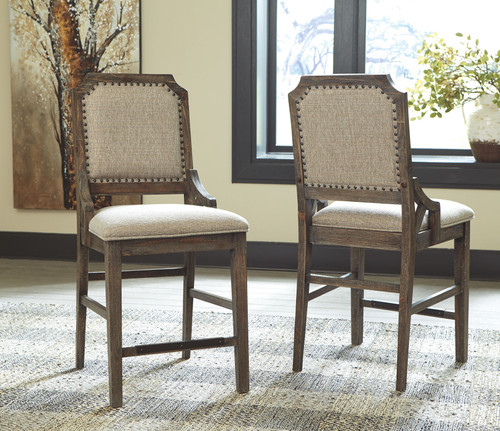 Wyndahl Rustic Brown Upholstered Barstool (Set of 2)
