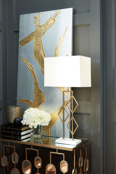 Edsel Champagne/White Metal Table Lamp (1/CN)