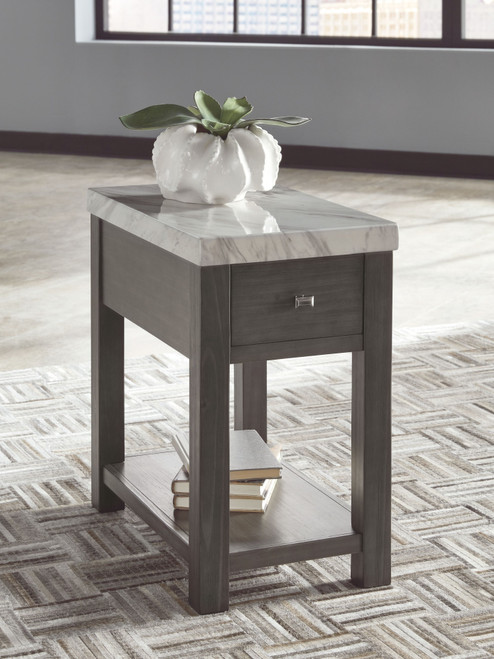 Vineburg Gray/White Chair Side End Table