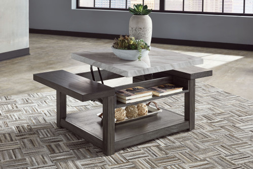 Vineburg Gray/White Rect Lift Top Cocktail Table