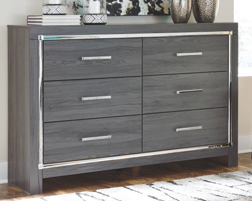 Lodanna Gray 5 Pc. Dresser, Mirror, Chest & Queen Upholstered Panel HDBD with Bolt on Bed Frame