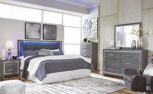 Lodanna Gray 4 Pc. Dresser, Mirror & King Upholstered Panel HDBD with Bolt on Bed Frame