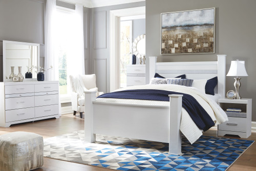 Jallory White 7 Pc. Dresser, Mirror, Queen Poster Bed & 2 Nightstands