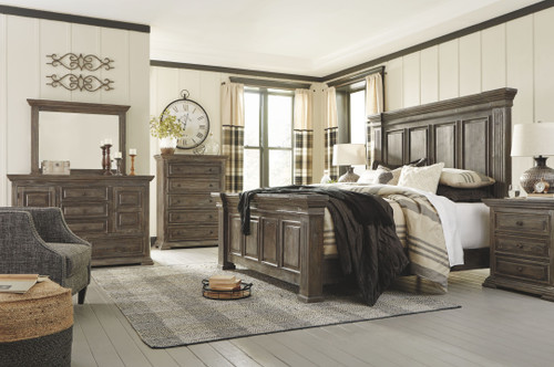 Wyndahl Rustic Brown 8 Pc. Dresser, Mirror, Chest, Queen Panel Bed & 2 Nightstands