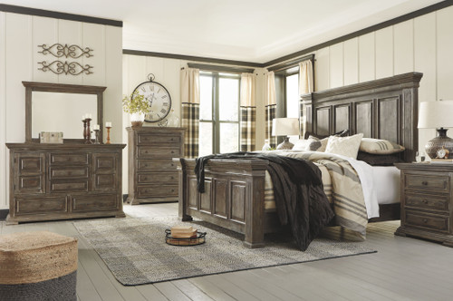 Wyndahl Rustic Brown 5 Pc. Dresser, Mirror & Queen Panel Bed
